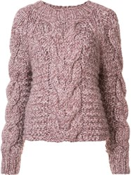 Ulla Johnson 'Francisca' Cable Handknit Pullover Pink And Purple