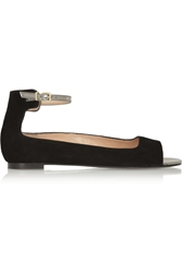Robert Clergerie Guardia Suede Peep Toe Flats Black