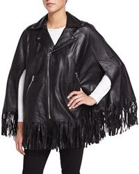 Lola Leather Poncho W Fringe Black Rta Denim