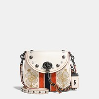 Coach Western Embroidery Turnlock Saddle Bag 17 In Glovetanned Leather Black Copper Chalk