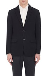 Tomorrowland Men's Kersey Cotton Blend Two Button Sportcoat Navy