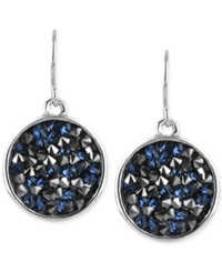 Kenneth Cole New York Silver Tone Faceted Bead Disc Drop Earrings Blue