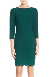 Julia Jordan Women's Eyelet Sheath Dress Hunter Green