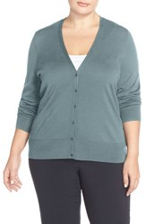 Sejour Plus Size Women's V Neck Cardigan Blue Cameo