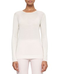 Akris Long Sleeve Cashmere Silk Jewel Neck Pullover Pelican Women's