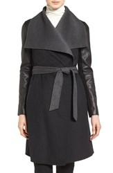 Mackage Women's Leather Sleeve Double Face Wool Blend Wrap Coat Black Charcoal