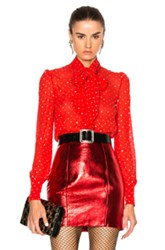 Saint Laurent Glitter Blouse In Red