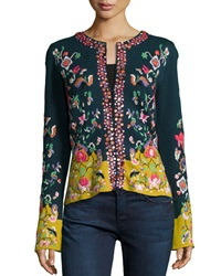 Michael Simon Embroidered Folkloric Cardigan Petite