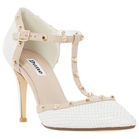 Dune Cliopatra Studded T Bar Court Shoes White Reptile