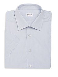 Brioni Regular Fit Striped Short Sleeve Dress Shirt Sky Blue
