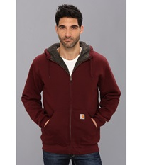 Carhartt Brushed Fleece Sweatshirt Sherpa Lined Port Men's Coat Burgundy