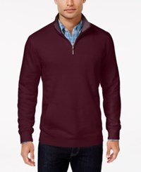 Club Room Men's Big And Tall Quarter Zip Sweater Only At Macy's Malbec