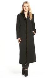 Women's Fleurette Genuine Mink Fur Trim Long Loro Piana Wool Coat Black