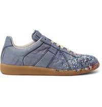 Maison Martin Margiela Replica Paint Splattered Nubuck Sneakers Blue