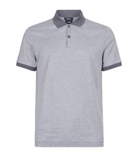 Boss Mercerised Cotton Fine Stripe Polo Top Male Dark Grey