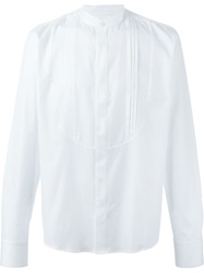 Tonello Pleated Front Band Collar Shirt White