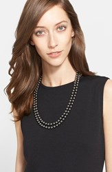 Women's St. John Collection Signature Faux Pearl Necklace Ruthinium Grey Pearl