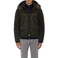 Moncler Men's Down Quilted Hooded Parka Dark Green