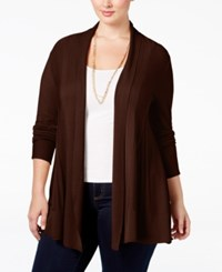 Ny Collection Plus Size Open Front Textured Cardigan Coco Velvet