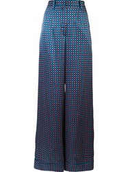 Monique Lhuillier Cubic Print Trousers Blue