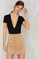 Nasty Gal Noah Suede Mini Skirt Beige