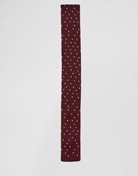 Asos Knitted Tie With Speckles In Burgundy Burgundy Red