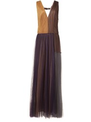 Vera Wang Colour Block Tulle Gown Multicolour