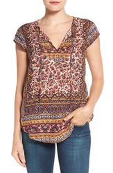 Lucky Brand Women's Beaded Floral Border Print Top Red Multi