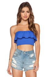 Susana Monaco Ruffle Tube Crop Top Royal