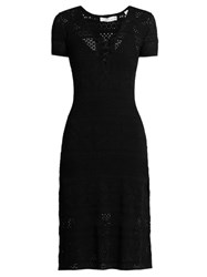 A.L.C. Trevi V Neck Eyelet Knit Dress Black