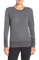 Alo Yoga Women's Alo 'Flux' Cross Back Long Sleeve Top Charcoal Heather