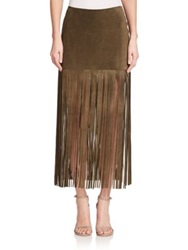Theperfext Mini Suede Fringe Maxi Skirt Army Green