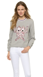 Mother Of Pearl Baley Sweatshirt Grey White Maroon Rib