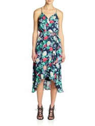Joie Ruzenza Silk Floral Print Dress Dark Blue