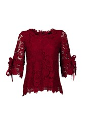 Jolie Moi Crochet Lace 3 4 Sleeve Top Red