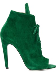 Off White Peep Toe Lace Up Booties Green