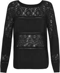 Soaked In Luxury Paneled Lace Top Black