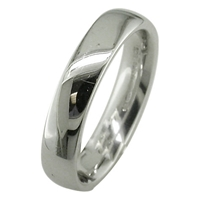 Ewa 18Ct White Gold 4Mm Larger Sized Court Wedding Ring
