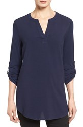Pleione Women's Split Neck Roll Sleeve Tunic Navy Peacoat