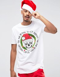 Asos Christmas Longline T Shirt With Trollied Skull Print White