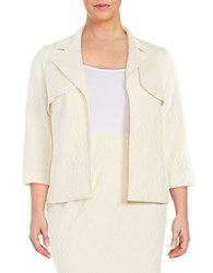 Nipon Boutique Plus Geometric Jacquard Blazer Cream