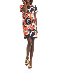 Trina Turk Museum Cotton Silk Retro Floral Dress Coral Multi
