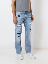 Christian Dior Homme Distressed Jeans Blue