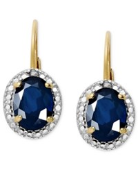 Victoria Townsend 18K Gold Over Sterling Silver Earrings Sapphire 2 Ct. T.W. And Diamond Accent Oval Leverback Earrings