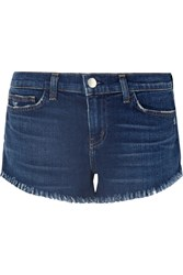 L'agence Zoe Frayed Denim Shorts Mid Denim