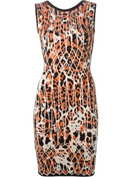 Herve Leger Intarsia Knit Fitted Dress Yellow And Orange