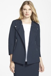 Lafayette 148 New York 'Dayle' Snap Front Jacket Regular And Petite Blue