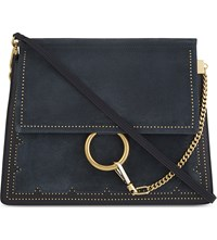 Chloe Faye Studded Leather And Suede Satchel Full Blue