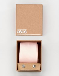 Asos Wedding Tie In Pink And Cufflink Pack Pink