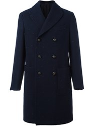 The Gigi Double Breasted Mid Length Coat Blue